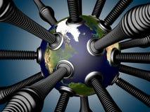 Tubulações do gás e de óleo unidas à terra do planeta Imagem de Stock Royalty Free