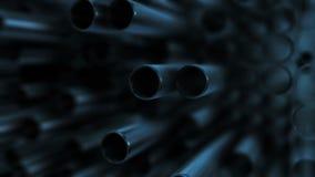 Tubulações do metal no azul filme