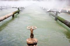 Tubulações do sistema de tratamento de água de esgoto Fotografia de Stock Royalty Free