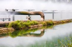 Tubulações do sistema de tratamento de água de esgoto Foto de Stock Royalty Free