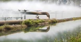 Tubulações do sistema de tratamento de água de esgoto Imagem de Stock