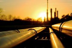 Tubulações douradas que vão à refinaria de petróleo Fotografia de Stock Royalty Free