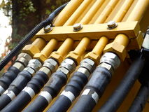 Tubulações e mangueiras hidráulicas fotos de stock