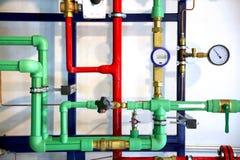 Tubulações e programa demonstrativo do sistema de aquecimento fotos de stock