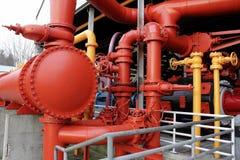 Tubulações industriais pintadas Imagens de Stock