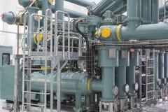 Tubulações na central elétrica Fotos de Stock Royalty Free