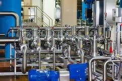 Tubulações, tanques para a indústria alimentar Fotografia de Stock