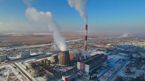 Tubulações de fumo do central elétrica térmico vídeos de arquivo
