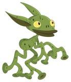 Tubular alien. Tube shaped limbs green alien Royalty Free Stock Image
