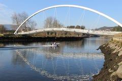 Tube bridge in Pontevedra stock photography