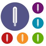 Tubular bulb icons set. In flat circle reb, blue and green color for web Stock Photography