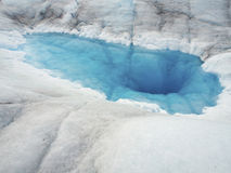 Tubular Chute with Crytsal Blue Water at Mendenhal. Tubular Chute (it drain surface melt water) with Crytsal Blue Water at Mendenhall Glacier, Juneau, Alaska Royalty Free Stock Photos