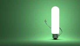 Tubular light bulb character in aha moment. Glowing tubular light bulb character in aha moment on green background Stock Image