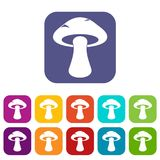 Tubular mushroom icons set flat. Tubular mushroom icons set vector illustration in flat style In colors red, blue, green and other Royalty Free Stock Images