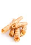 Tubules doces do waffle Fotografia de Stock