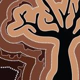 Tubylczej sztuki wektorowy obraz z drzewem Obraz Stock