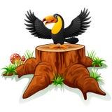 Tucán de la historieta en tocón de árbol stock de ilustración