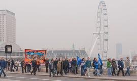TUC protest maart in Londen, het UK Stock Foto's