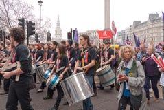 TUC protest maart in Londen, het UK Stock Fotografie