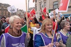 TUC protest maart in Londen, het UK Royalty-vrije Stock Foto's