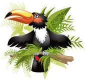 Tucan. Beautiful toucan sitting on a branch vector illustration