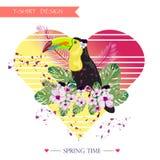 Tucan, diseño tropical del fondo de la camiseta Imágenes de archivo libres de regalías
