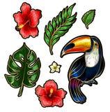 Tucano e elementos tropicais do bordado das flores e das folhas Fotos de Stock Royalty Free