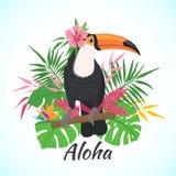 Tucano sveglio dell'uccello su un fondo floreale illustrazione vettoriale