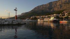 Tucepi port at sunseth stock footage