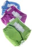 Tuch-Windeln im Grün, im Purpur und im Blau Lizenzfreie Stockfotografie