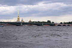 Tuchkov Bridge. St. Petersburg. Tuchkov Bridge, Peter and Paul Fortress. View from the middle of the Neva River. St. Petersburg stock images