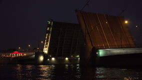 Tuchkov drawbridge. Saint-Petersburg. 4K. Tuchkov drawbridge. Saint-Petersburg. White nights. Neva. The bridges. The Northern capital. Leningrad. Shot in 4K ( stock footage