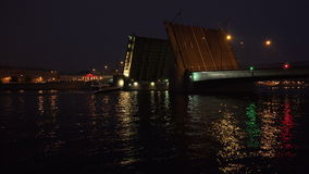 Tuchkov drawbridge. Saint-Petersburg. 4K. stock footage