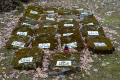 Tuchola, kujawskopomorskie / Poland - February, 14, 2019: A place of remembrance of the POW camp. Mires of the soldiers who died. In the POW camp. Season winter royalty free stock photo
