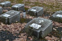 Tuchola, kujawskopomorskie / Poland - February, 14, 2019: A place of remembrance of the POW camp. Mires of the soldiers who died. In the POW camp. Season winter stock images