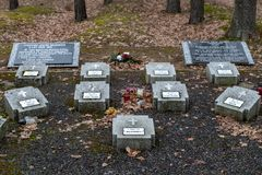 Tuchola, kujawskopomorskie / Poland - February, 14, 2019: A place of remembrance of the POW camp. Mires of the soldiers who died. In the POW camp. Season winter royalty free stock image