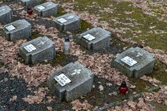 Tuchola, kujawskopomorskie / Poland - February, 14, 2019: A place of remembrance of the POW camp. Mires of the soldiers who died. In the POW camp. Season winter stock photo