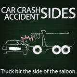 TUCK AND Car crash Side collision by chalk. Sign for car crash accident on Side collision Between cars and truck sketch by chalk vector illustration