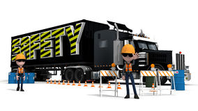 Truck Safety. A Health and Safety Area with  men at work stopping traffic Royalty Free Stock Photos