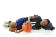 Tuckered Out Basketball Tween Royalty Free Stock Photos