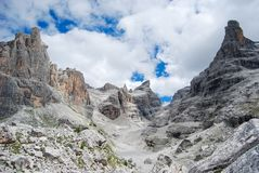 Tuckett retreat among the Dolomites site Trentino Alto Adige. Suggestive view of Natural Park of Brenta group royalty free stock photo