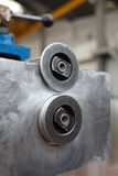 Job. Tucking machine used to manufacture tubes intended for thermal insulation Stock Photography