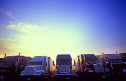 Tucks and transport. Tucks at a truck stop Royalty Free Stock Photography