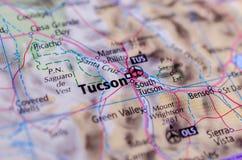 Tucson, Αριζόνα στο χάρτη στοκ εικόνες