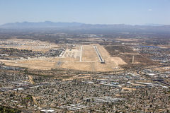Tucson, Arizona aerial with runway and boneyard Royalty Free Stock Photography