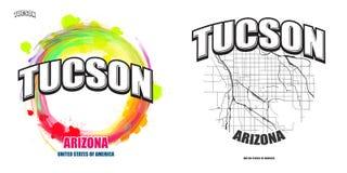 Tucson, Arizona, dwa logo grafiki Zdjęcia Stock