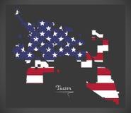 Tucson Arizona map with American national flag illustration Royalty Free Stock Photos