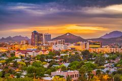 Tucson, Arizona, USA Skyline. Tucson, Arizona, USA downtown skyline with Sentinel Peak at dusk. Mountaintop `A` for `Arizona stock image