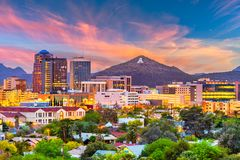 Tucson, Arizona, USA Skyline. Tucson, Arizona, USA downtown skyline with Sentinel Peak at dusk. Mountaintop `A` for `Arizona royalty free stock photos