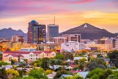 Tucson, Arizona, USA Skyline. Tucson, Arizona, USA downtown skyline with Sentinel Peak at dusk royalty free stock photo